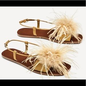 Zara Flat Sandals With Feathers